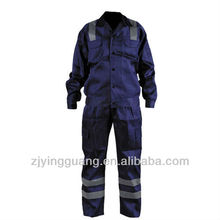 100% Cotton Twill Fabric Safety Work Coverall With Hi-vis Reflective Tape