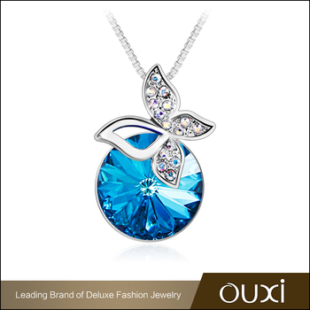 2017 New Authentic Austrian jewelry ocean blue big crystal pendant necklace with zircon butterfly charm