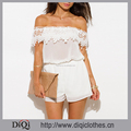 Wholesale Ladies Latest Fashion Summer Boho Ivory White Sheer Chiffon Off Shoulder Scallop Crochet Trim Romper Jumpsuit