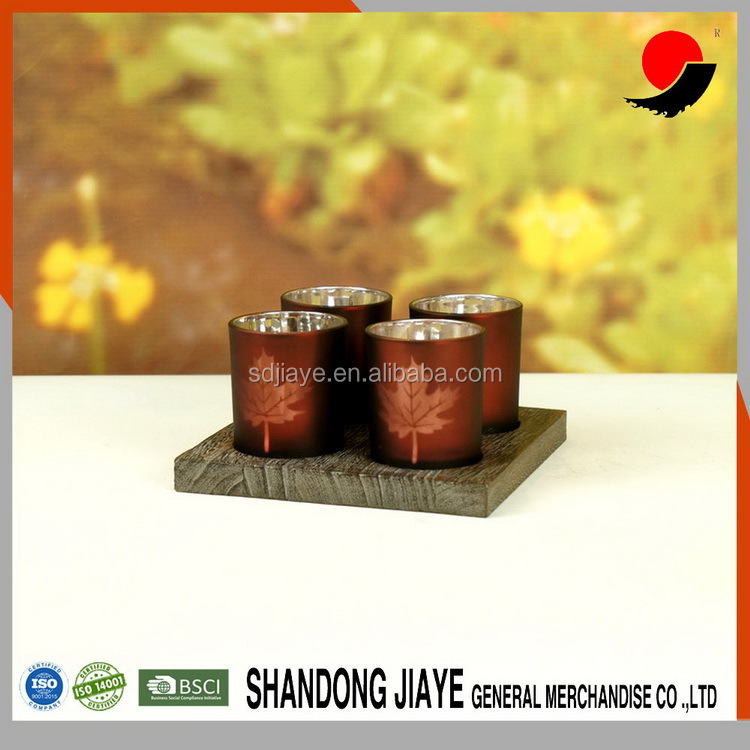 New Design Amber Maple Leaf Machine Made Glass Votive Candle Holder With Wood Tray