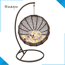 Hand beach rattan wicker outdoor indoor egg shaped single seat adult eardrop bamboo swing hanging chair frame for greenhouse