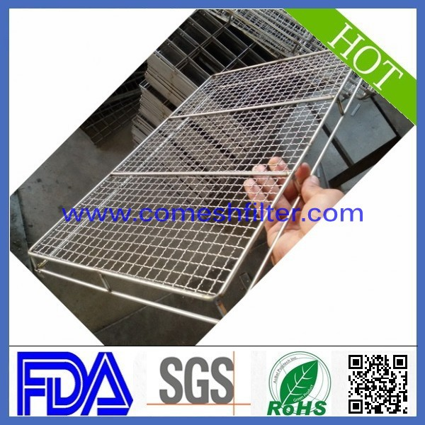 stainless steel grid wire mesh basket