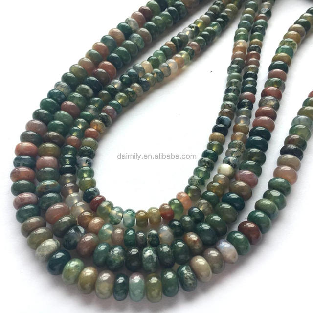Natural Indian Agate Rondelle Gemstone Bead Semiprecious Stone Jewelry