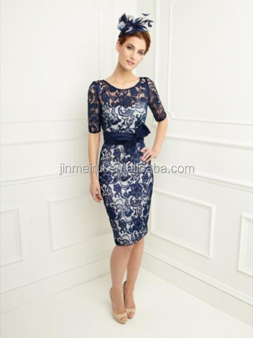 Hot Sale Navy Blue Satin Lace Mother of the Bride Dresses with Jacket Half Sleeves Scoop Knee length Sheath Mother Dress MQ072