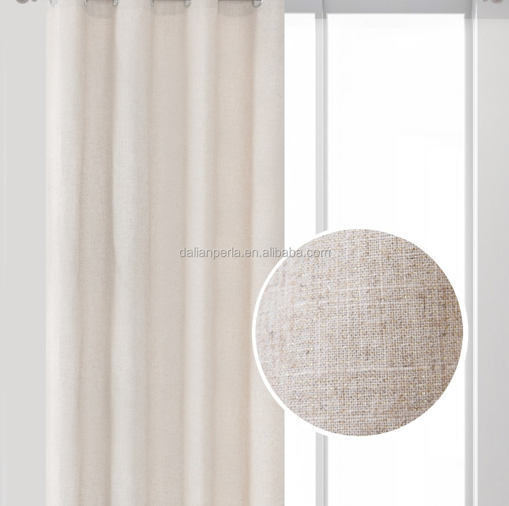Polyester/Linen Shiny Effect Luxury Plain Beige Color Fabric Eyelets Curtain
