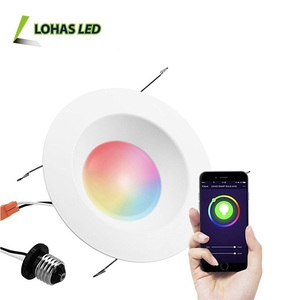 15W E26 6 Inch Recessed Lighting Smartphone Controlled WiFi Retrofit LED Recessed Downlight