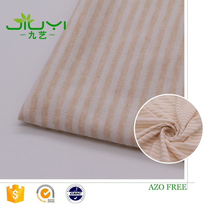 wholesale natural striped cotton yarn dyed stripe single jersey knit fabric
