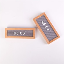 wooden frame changeable black felt letter board mini message board with letters, stand