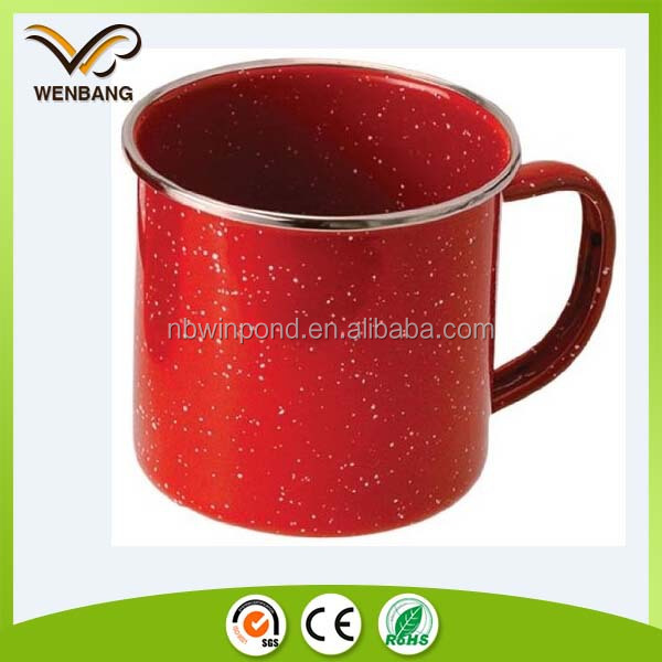 good quality red enamelware with handle, ss rim cheap bulk coffee mugs