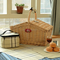 Wholesale made in china mini Portable handmade firm empty wicker picnic baskets with fabric with cooler bag
