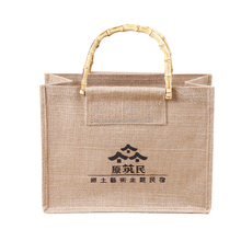 High quality low MOQ personalised jute shopper bag with bamboo handle