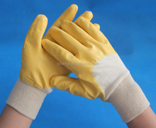 Knit Wrist Interlock Cotton Lined Yellow Nitrile Coated Rigger Gloves