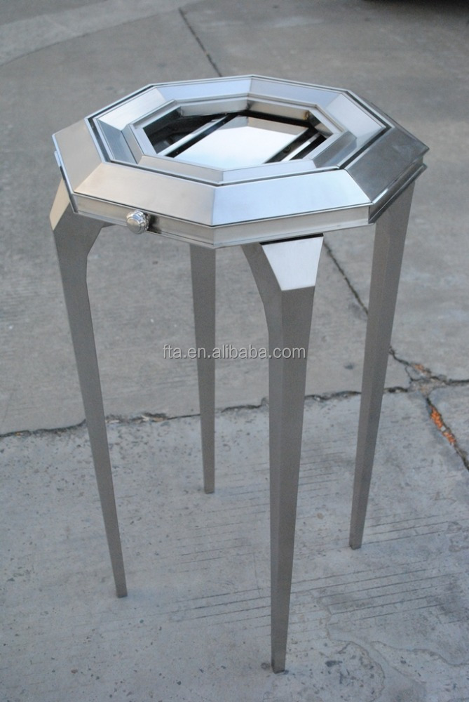brushed stainless steel polygon jewellery display table