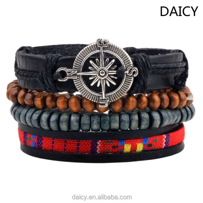 DAICY cheap wholesale men's multilayer beads wood bracelet