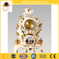 European Antique Crafts Table Ceramic Clock , Luxury Porcelain Figurine Desk Clock For Home Decoration