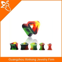 body piercing jewelry Triangle Shaped Rainbow Soft and Flexible Silicone Double Flared Tunnel Ear Plug