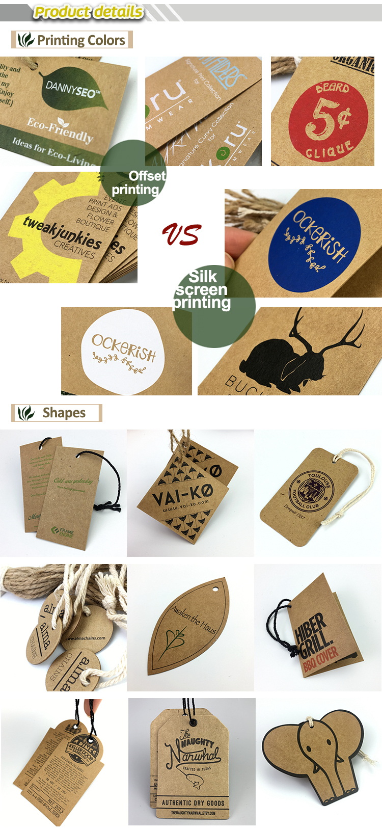 wholesale recycled custom logo kraft paper hang tags samples for women clothing