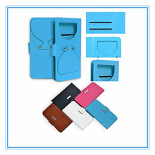 Sky blue universal smart phone card wallet style leather case with plastic sucker