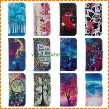 Hot Sale Cartoon Painting Pattern Flip Stand Pu Leather case for iphone 7