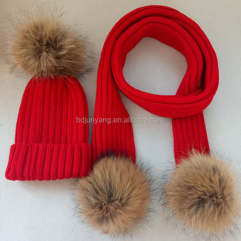 2017 girls winter knitted scarf pompom scarf with fur pompom hat a set wholesale