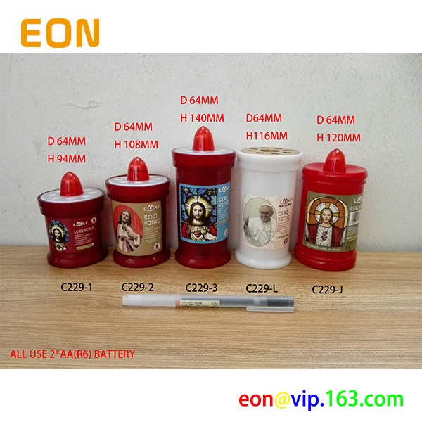 C229 Factory Custom OEM RED LED Religious Grave Candles