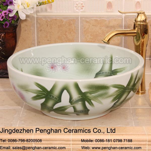 jingdezhen famille rose pintado a mano de cermica sobre encimera fregadero de la cocina