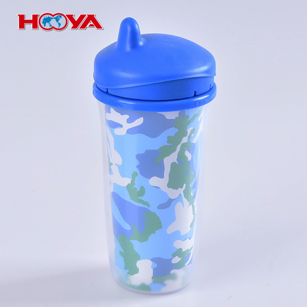 Non-toxic 260 ML double-desk non-spill baby sippy training cup
