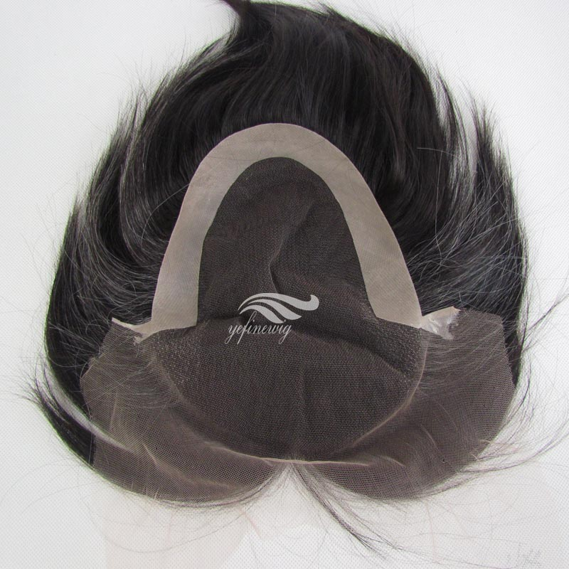 AAAA high quality pu men patch hair toupee handtied