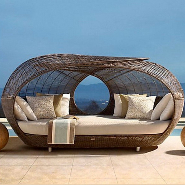 Luxury outdoor furniture rattan beach round sunbed sun lounger sofa bed