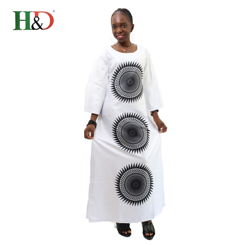 H & D Wholesale OEM Cheap Price White Traditional Skirts 100 % Cotton African Dresses For Women