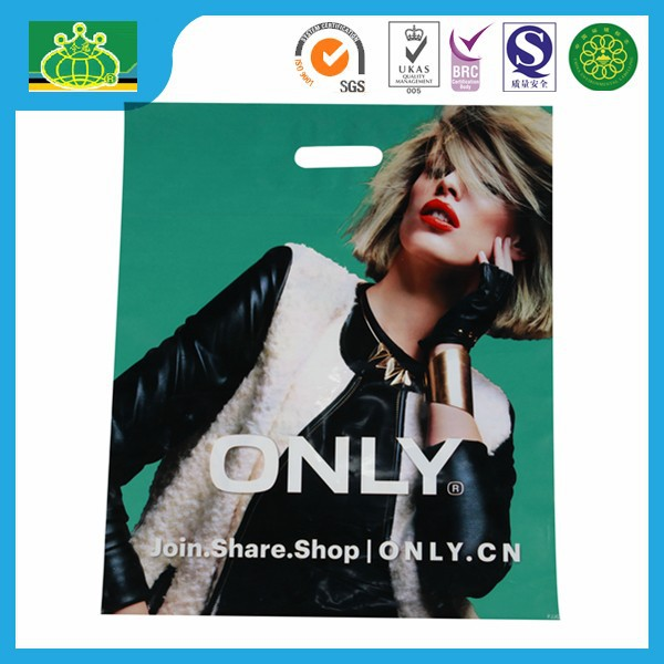 OEM Custom Printed Carrier Bag Die Cut handle Plastic Bag