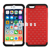 Bling Diamond Crystal Star Hard Cover Soft Silicon Gel Rubber Skin Cases for iPhone 6 4.7 & 6 Plus 5.5