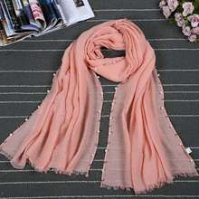 Best-selling new styles fashion summer sunscreen cotton scarf shawl solid color pearls shawl and scarf