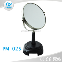 PRIME Hot Selling! Engraved metal make up mirror with wood styling station