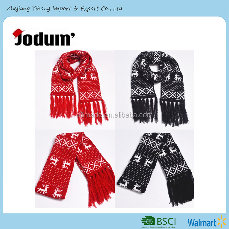 Wholesale outdoor happy new year snow fake deer scarf christmas knitted wool warm scarf