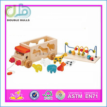 Pull and Push Toy for Kids, Children Wooden Toy DIY Toy , Baby String Bead Toy Wooden Block Toy