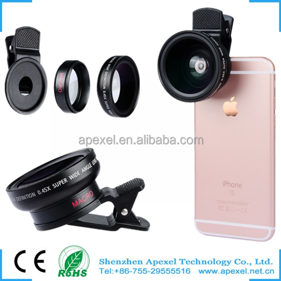 2016 newest mobile phone camera covers lens big size portable 2 in 1 travel lens kit for all cellphone