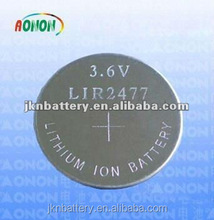 Rechargeable 3.6v hearing aid battery lir1220 lir 2016 lir2032 lir3032