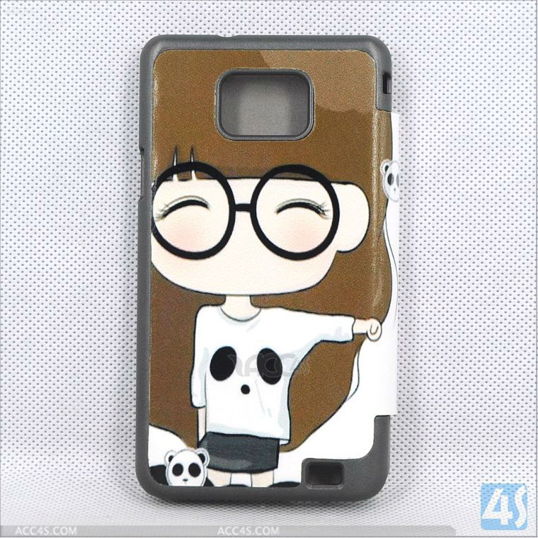 Korean Style Cute Cartoon leather Case for samsung galaxy s2 i9100 P-SAMI9100CASE016