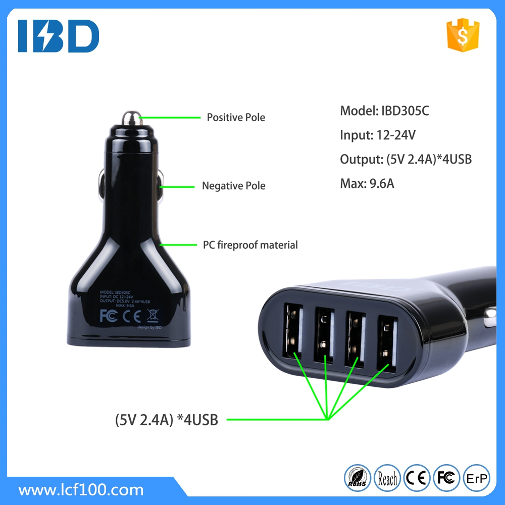 IBD Input 12-24v four ports usb car charger 5V/9.6A electric usb mult charger for Samsung Galaxy S4 S3 S5 Note 2 3 HTC Nokia etc