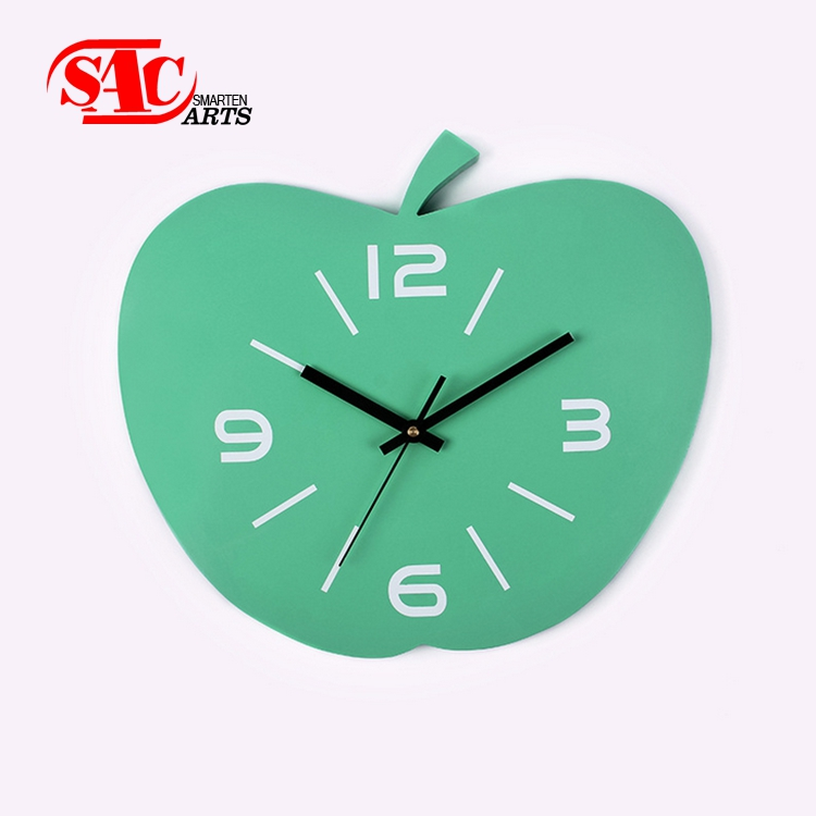 Wholesale Custom pink Apple shape Child Wall Clock
