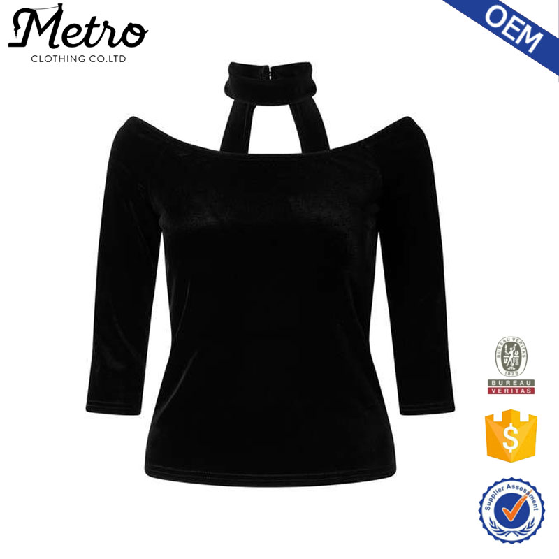 New Design Off Shoulder 3/4 Sleeve Bardot Neckline Tops