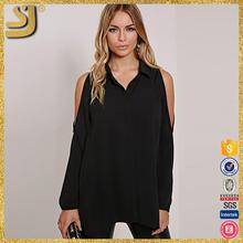 OEM factory price cheap off shoulder tops, lady summer black mesh blouse