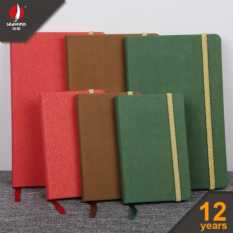 leather portfolio with calculator hard cover colorful pu elastic notebook