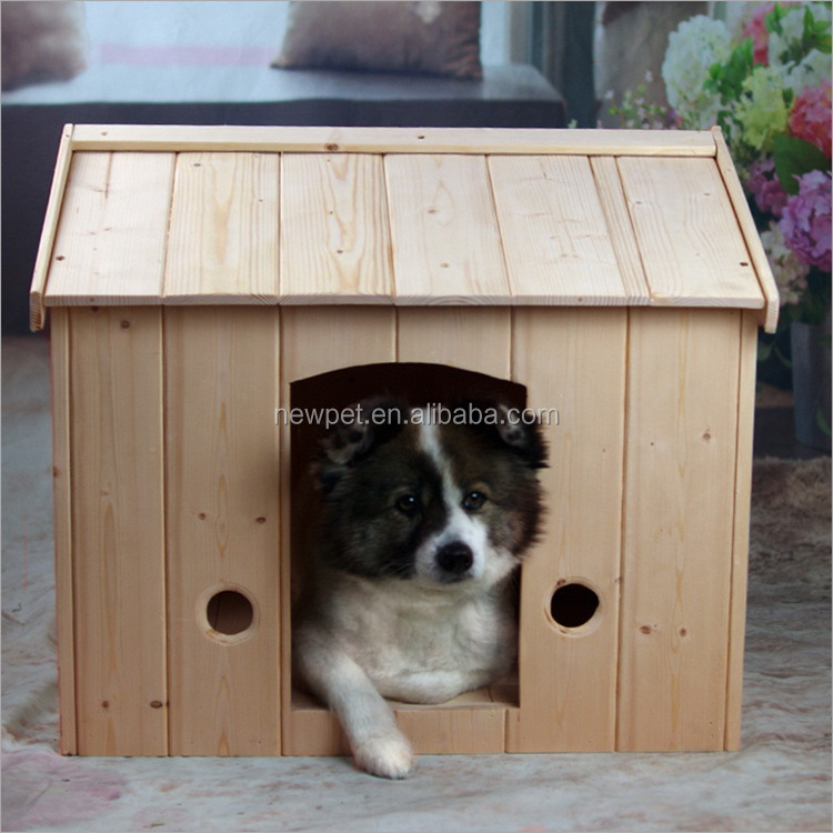 Factory supply promotional solid wood pet bed house craft -pet dog house wood