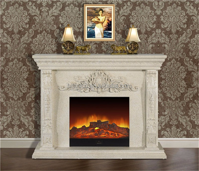 White Elegant Freestanding French Style Decorative Electric Fireplace View W