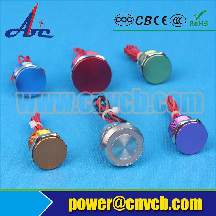 19mm 19A dustproof metal piezo touch switch with wire