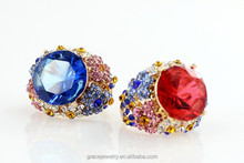 Wholesale Fashion Exotic Colorful Crystal Rings Jewelry For Women