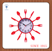 Colorful Kitchen Wall Clock with fork and knife