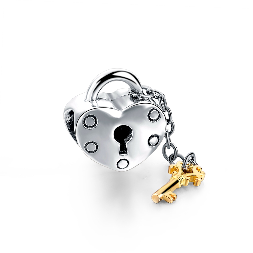 Clear Pave Lock of Love Charms 925 Sterling Silver Jewelry Heart Key Jewelry Beads For Jewelry
